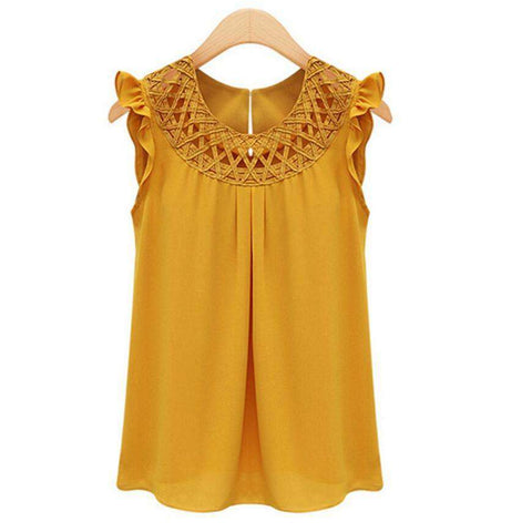 Chiffon Blouse with O-neck Summer Sleeveless Vintage Top