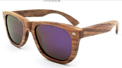 Zebra Wooden Handmade Unisex Sunglasses With Reflective Mirror Lens