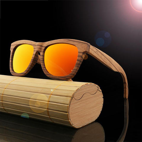 Wooden Sunglasses Square Frame Polarized Lens UV 400 Unisex