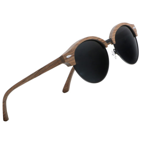 Walnut Wood Sunglasses With Polarized Lens Semi-Rimless For Men