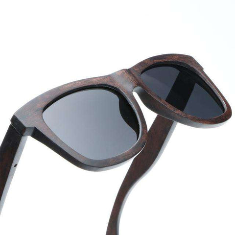 Men Wooden Frame Polarized Lens Sunglasses UV400