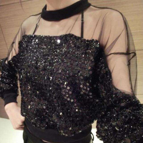 Fashion Women Sequins Blouses Casual Crop Top