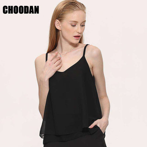 Chiffon Sleeveless V-neck Tank Top Blouse Black