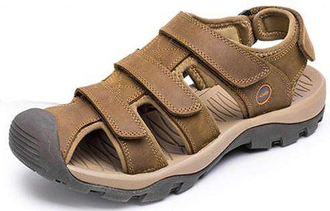 Men's Cowhide Leather Breathable Beach Sandals Causal Brown