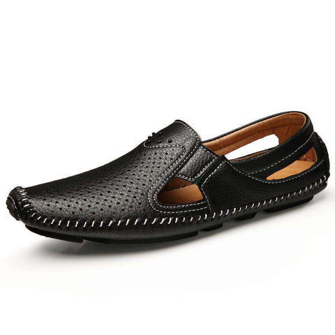 Men's Beach Sandals Lightweight Breathable Leather Black