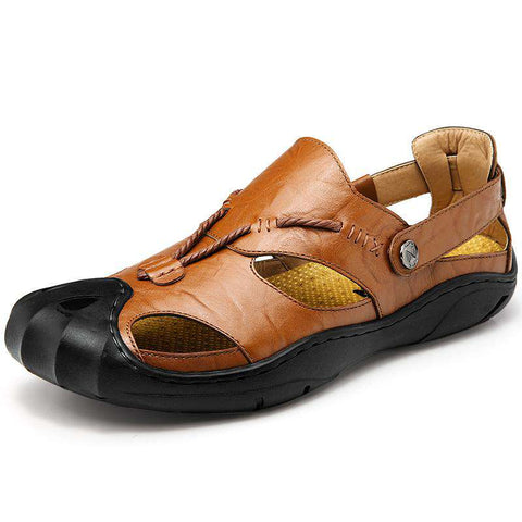 Genuine Leather Breathable Brown Sandals For Men