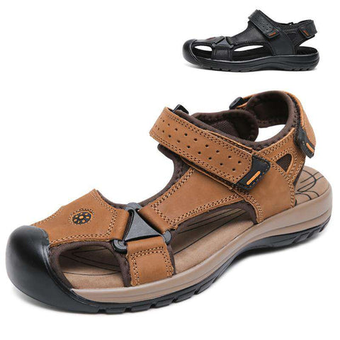 Men's Genuine Leather Breathable Beach Sandals Brown