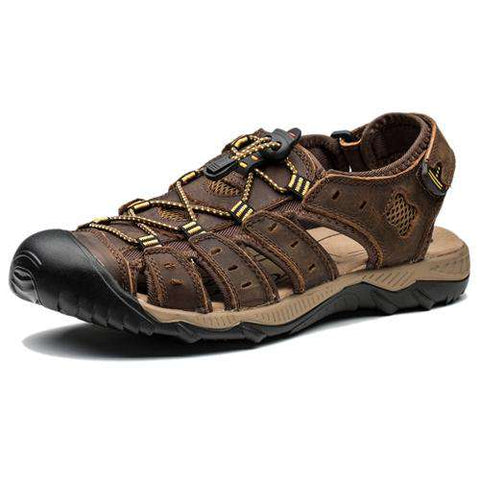 Men's Genuine Leather Closed Toe Beach Sandals Brown