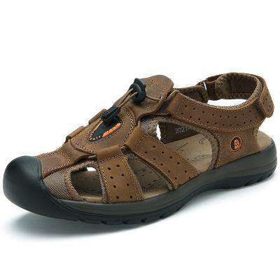 Breathable Leather Waterproof Beach Green Sandals For Men