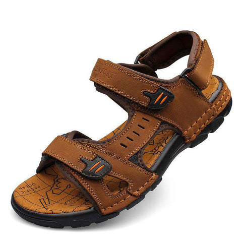 Casual Cow Leather Gladiator Men Sandals Brown