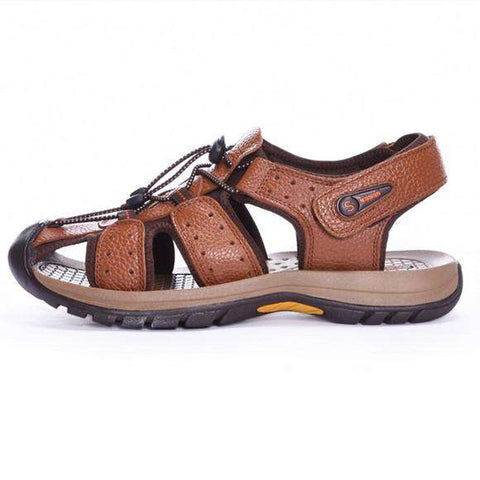 Genuine Leather Cowhide Casual Sandal Brown For Men