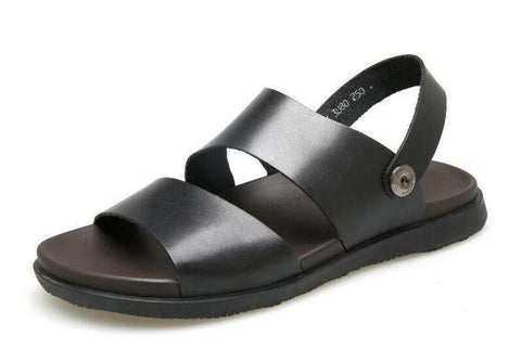 Men's Real Leather Casual Black Beach Sandals