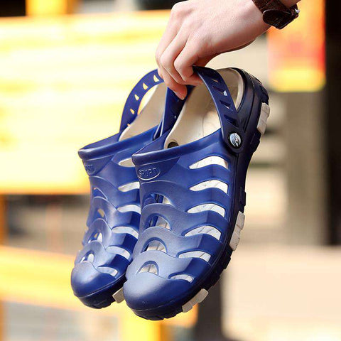 Men's Dual Use Hollow Out Casual Breathable Blue Sandals