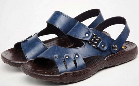 Leather Leisure Casual Blue Sandal For Men