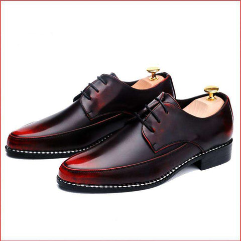 Men's Patent Leather Lace Up Formal Red Dress Shoes