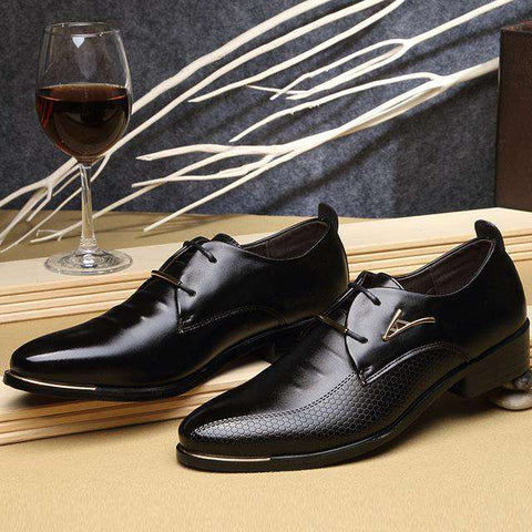 Men's Lace Up Pointed Toe Formal Black Dress Shoes