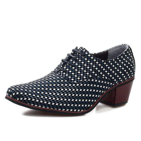 Men's British Style High Heel Lace Up Polka Dot Dress Shoes Blue