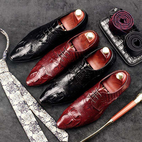 Men's Crocodile Pattern Genuine Leather Lace Up Dress Shoes Black/Brown