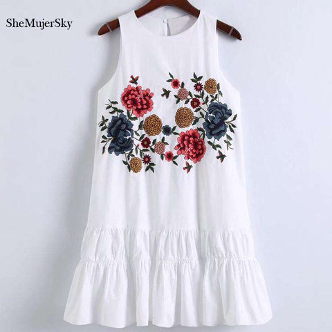 Floral Embroidery White Casual Sleeveless Dress