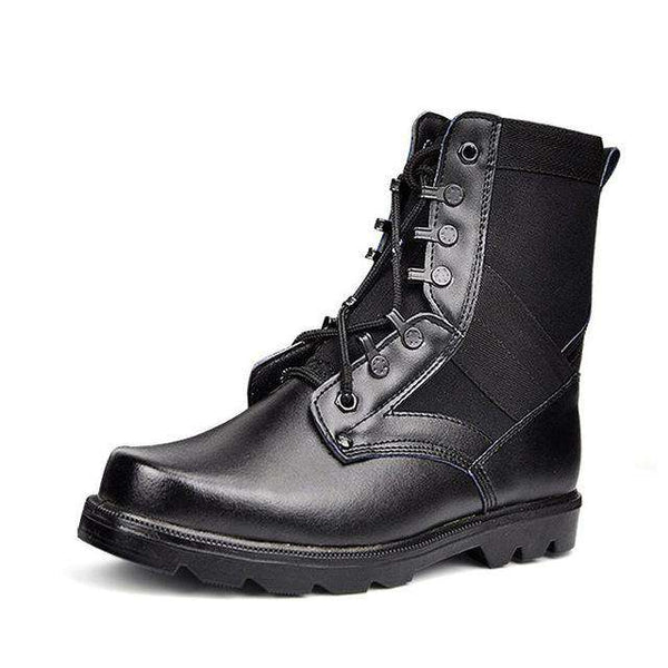 Men Military Combat Steel Toe Leather Safety Boots Black