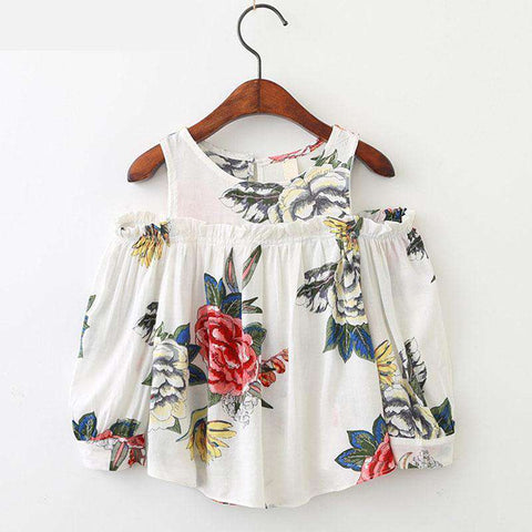Flowers Printed Ears Strapless Kids Long-Sleeved Shirt