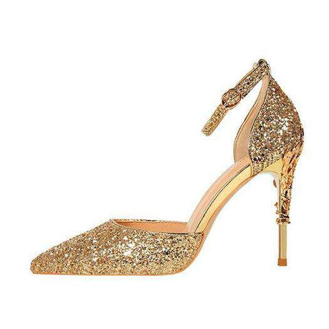 Ankle Strap Glitter Golden Thin Silver High Heels