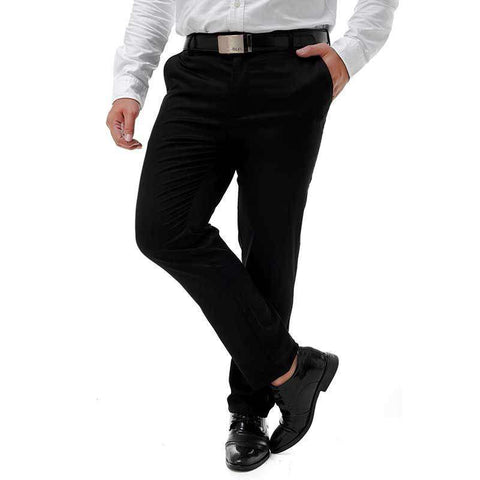 Men's Wrinkle Free Flat Front Easy Care Dress Pants Black