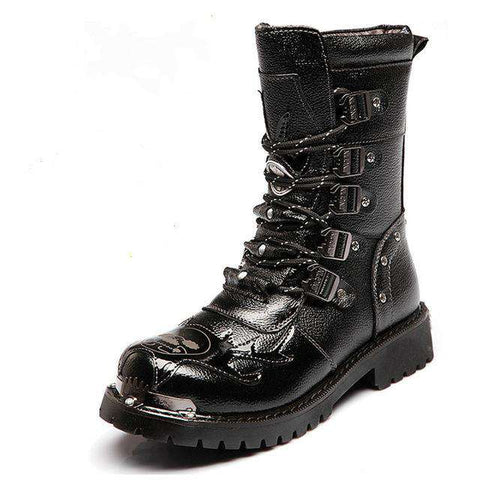 Men's Mid-Calf Motorcycle Leather Skull Print Martin Boots