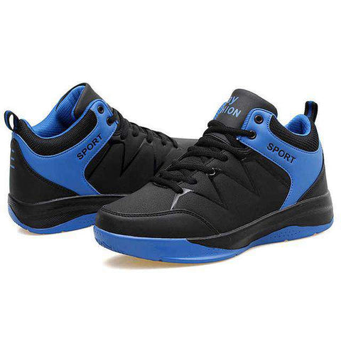 Men's Lace Up Basketball Sports Athletic Cushioning Sneakers Black