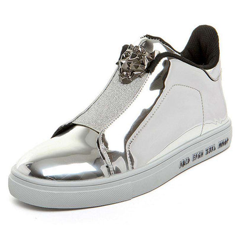 Men's Bright Metal Breathable Skateboarding Sports Sneakers Silver