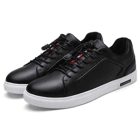Men's Skateboarding Black Leather Wear Non-Slip Sport Sneakers