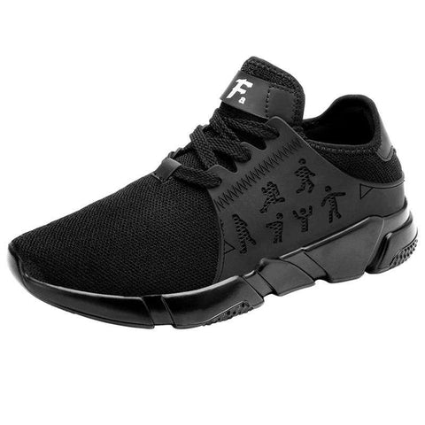Men's Sports Breathable Mesh Running Flying Athletic Sneakers Black