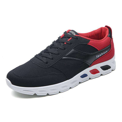 Men's Lace Up Jogging Leather Athletic Sport Sneakers Black