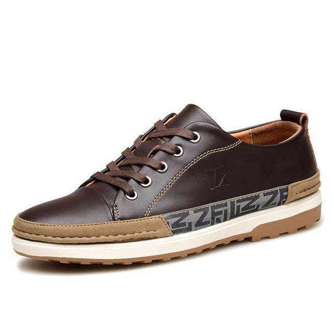 Men's Genuine Leather Skateboarding Comfortable Walking Sneakers Black