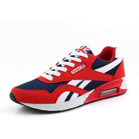 Men's Lace Up Trainers Air Breathable Casual Sneaker Red