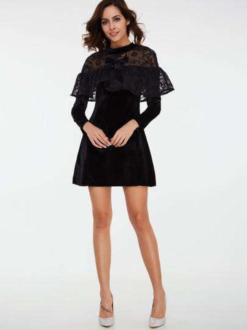 Black Lace Velvet Patchwork Long Sleeve Dress