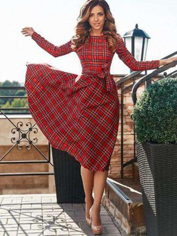 Round Neck Red Plaid Knot Women's Day Dress