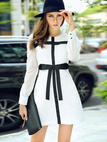 Bow-knot Round Neck Dress with Long Sleeve
