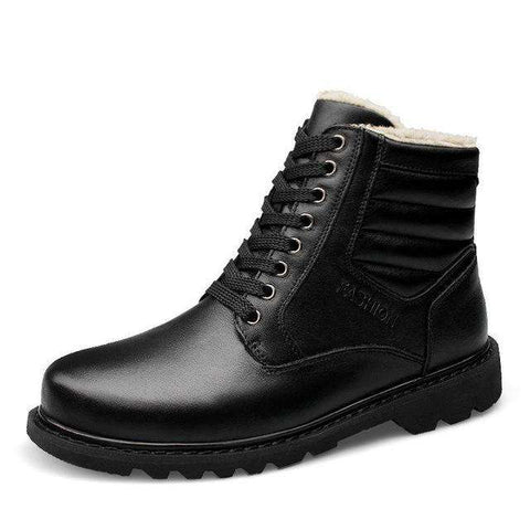 Men's Genuine Leather Lace Up Round Toe Ankle Boots Black