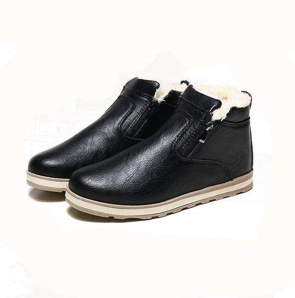 Men's Suede Round Toe Zipper Casual Waterproof Snow Boots Black