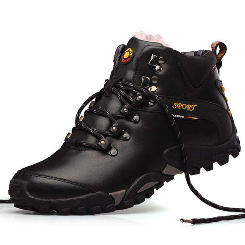 Men's Lace Up Waterproof Leather Casual Ankle Boots Black