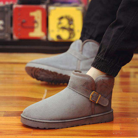 Men's Round Toe Slip On Buckle Boots Black