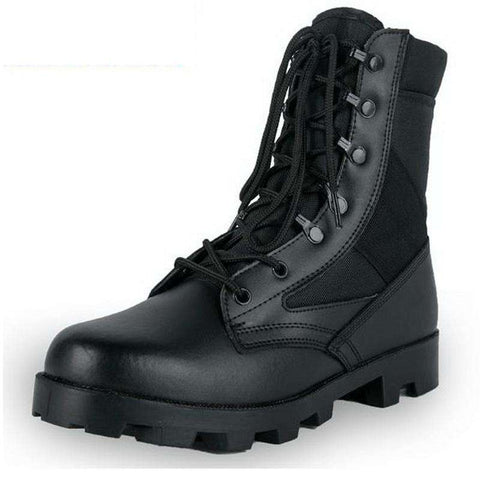 Men's Lace Up Round Toe Military Boots Black