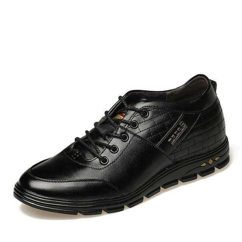Men's Leather Height Increasing Lace Up Boots Black