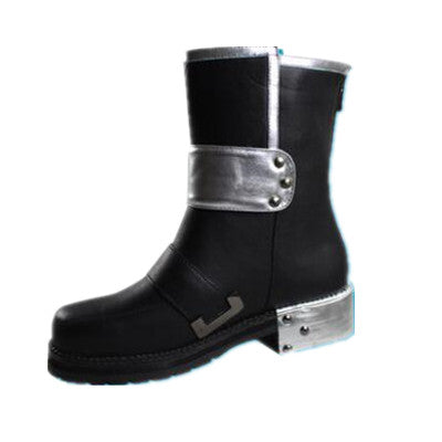 Sword PU Leather Round Toe Boots Black