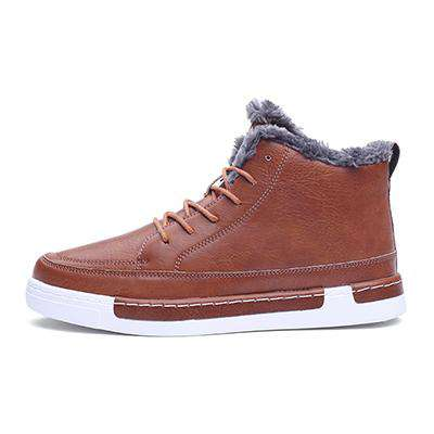 Men's Skateboard High Ankle PU Leather Casual Boots Brown