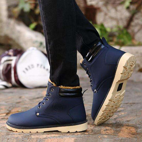 Men's Non Slip Lace Up Casual Boots Blue
