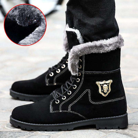 Men's Suede Round Toe Lace Up Casual Snow Boots