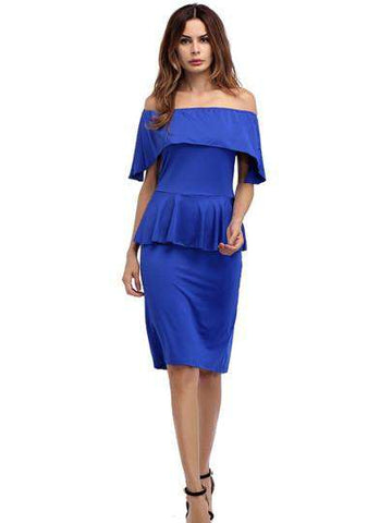 Double Layered Off Shoulder Pencil Dress
