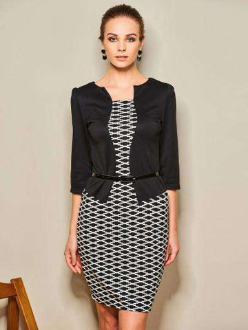 Round Neck Geometric Plaid Patchwork Sheath Dress